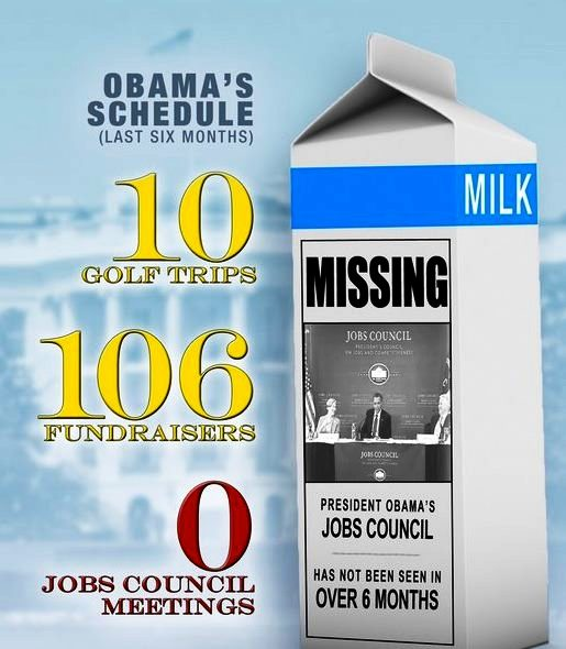 Obama Has not been had a Jobs Council Meeting in over 6 months