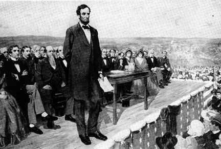 The Gettysburg Address, delivered by Abraham Lincoln in 1863