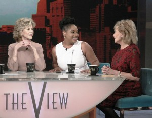 "THE VIEW - 5/12/14 After 17 incredible seasons and 10 different female panelists, Barbara Walters says farewell to live daily television with her final co-host appearance this week on ""The View,"" the daytime program she created for ABC. ""The View"" airs Monday-Friday (11:00 am-12:00 pm, ET) on the ABC Television Network.  Today's special guests include David Letterman, Michael J. Fox and guest co-host, Jane Fonda.   (ABC/Lou Rocco) JANE FONDA, SHERRI SHEPHERD, BARBARA WALTERS"